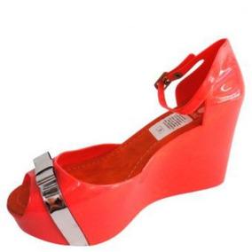 Sandalias Plastic Shoes Plataforma Moño Plateado-coral