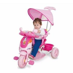 Triciclo Infantil Carrinho De Passeio Empurrador Com Capota