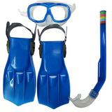 Kit Mergulho Com Máscara, Snorkel E Nadadeira Infantil