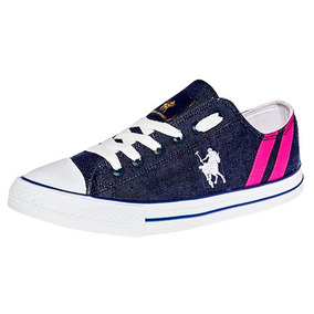Udt Tenis Sneaker Dama Azul American Polo Textil U00518