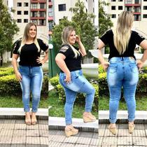 Linda Calça Plus Size Jeans Skinny Cintura Allta Lycra+frete