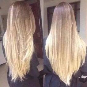 Aplique Tictac Mega Hair Loiro Médio Claro Ombré Liso 60cm
