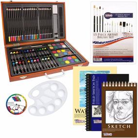 Set Kit Dibujo 102 Pz Maletin Arte Pintura Colores Pinceles