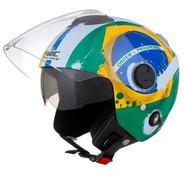 Capacete New Atomic Brasil Pro Tork Viseira Solar Bandeira