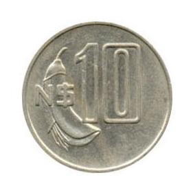 Moeda 10 Nuevos Pesos Uruguaios. Ano 1981.