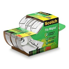 Leve 3 Pague 2: Fita Mágica Scotch C/ 3 Fitas E Suportes 3m
