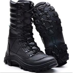 Bota Masculina Coturno Cano Médio Militar Ziper Promoção