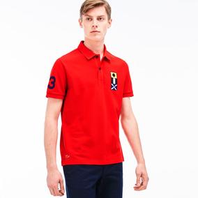 Camisa Polo Lacoste Regular Fit Live Com Bandeiras Bordadas