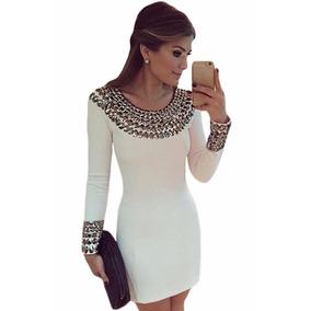Vestido Corto Manga Larga Con Pedrería Vino Blanco
