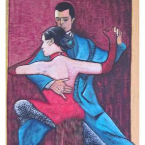 Tango Baile Arte Original Enmarcado Cuadro Óleo Diego Castro
