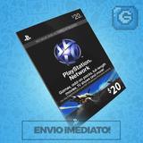 Playstation Network Card Cartão Psn $20 Dólares Usa Ps3 Ps4