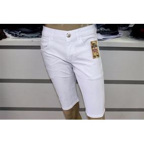 Bermuda Branca Sarja Shorts Jeans Masculino