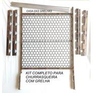 Suporte Churrasqueira C/ Barra 75cm + Grelha Inox 50/55/60cm