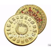 Moneda Onza Calendario Azteca Bañada En Oro De Coleccion