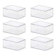 6 Caixas De Acrílico Com Tampa Pequena 11x8x5,5cm 1076