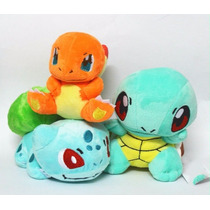 Set 3 Peluche Pokemon Bulbasaur, Charmander Y Squirtle