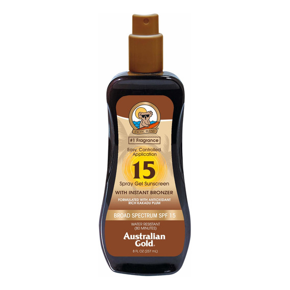 Bronceador Australian Gold Spf 15 Spray Gel Bronzer 237ml