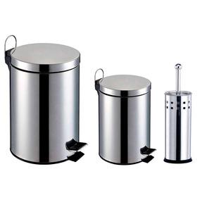 Kit Banheiro 3 Peças: Lixeiras Inox 3 E 5l+escova Sanitária