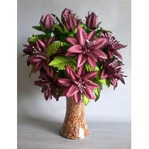 Arranjo Artificial De Flor Em Eva Lírio Imperial Roxo