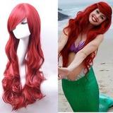Peruca Vermelha Ariel Cosplay Longa Ondulada 60cm + Brinde