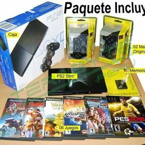 Playstation 2 Negro 2 Mandos Memoria 6 Juegos Envio Gratis