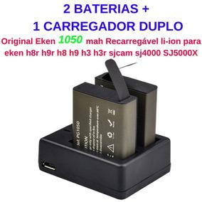 2 Baterias+1 Carreg P/cam Eken H9/h8/h3/sjcam/sj4000/sj5000x
