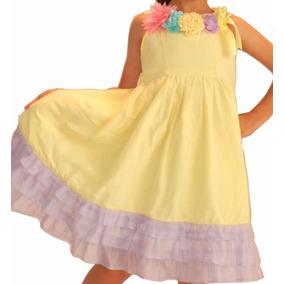 Vestido Niña Amarillo Con Lila, En Talla 4 Y 5 Fiesta Cumple