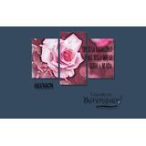 Cuadro Triptico Hambient Flores Rosas 60x40cm