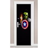 Adesivo Porta Parede Vingadores Homem De Ferro Hulk Thor Hd