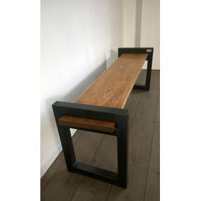 Mueble Hierro Y Madera, Banco - Caño - Industrial - Vintage