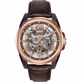 Bulova Men Automatic Watch Skeleton Piel Hom Reloj Diego Vez