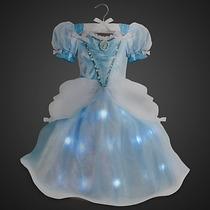 Vestido,tiara Coro E Varinha C/luz Princesa Cinderela Disney