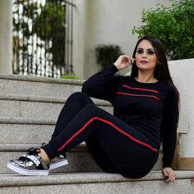 Conjunto Moleton Ribana Feminino Frio Calca Blusa Moda 2018