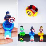 Reloj Tipo Lego Super Heroes Para Niños Facil Lectura Colecc