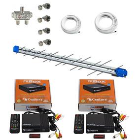 Kit 2 Conversor Digital Century Fitbox+antena Hdtv Digital