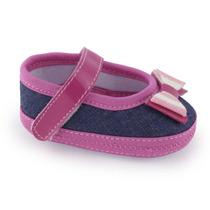 Sapato Infantil Jeans Com Rosa 001081 - Kéto