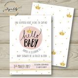 Invitación De Baby Shower Digital (rosa Y Dorado) Niña.