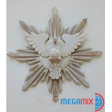 Divino Espírito Santo Resplendor Branco De Madeira 72cm