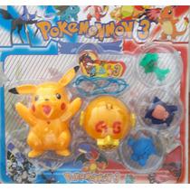 Set Pikachu Con Luz +pokebola Atrapa +personajes
