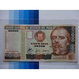 Billete 100000 100 Mil Intis 1988 Variante Todo En Color