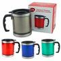1 Caneca Mug Térmica Inox Tampa 450ml, Az,vrd, Inox
