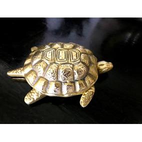 Cenicero Antiguo Bronce Macizo Figura Tortuga