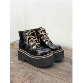 Botas Borcegos Acordonados Acharolados Negros Zapatos T. 40