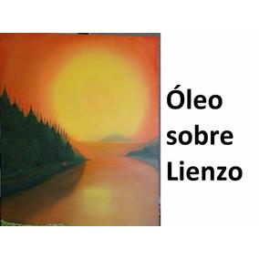 Cuadro Pintado Al Óleo Sobre Lienzo - Atardecer Y Cabaña