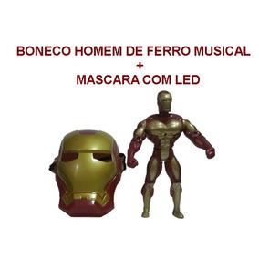 Kit Boneco E Mascara Com Led Homem De Ferro Da Marvel