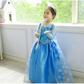 Vestido De Frozen 2 A 6 Años,trenza, Cetro Corona Y Zapatos.