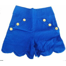 Shorts Curto Carnaval Amarelo Verão Azul Barato Apertado