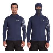 Camisa Proteção Uv Marinho  Pesca Touca Protege À Insetos