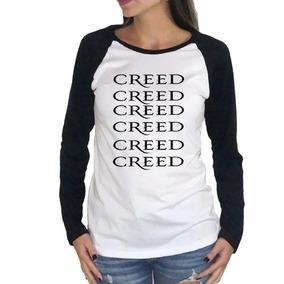 Babylook Camiseta Manga Longa Banda Creed Rock Alternativo