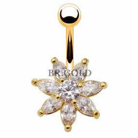 Piercing De Zircônias P/ Umbigo Flor Grande Folheada A Ouro